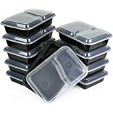 Home Amenity 10-Pack 2 Compartment Meal Prep Containers w/ Lids - Microwave, Dishwasher & Freezer Safe - Stackable, Reusable, Durable, BPA Free Plastic Lunch Box, Food Storage & Portion Control (23oz)