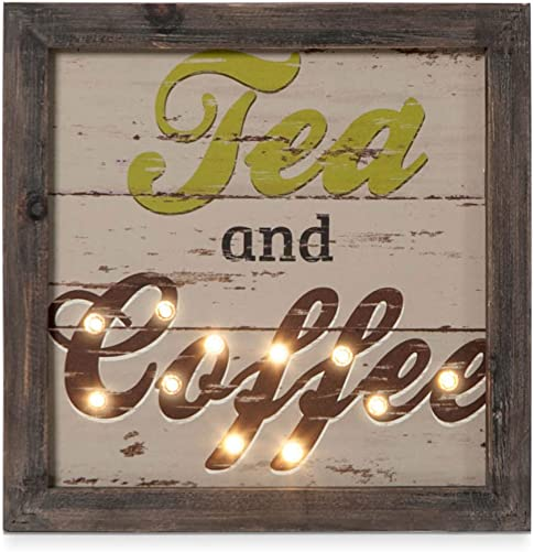 Xing Cheng Kitchen Decor Wall Art Tea and Coffee Wood Wall Decor with LED Lights