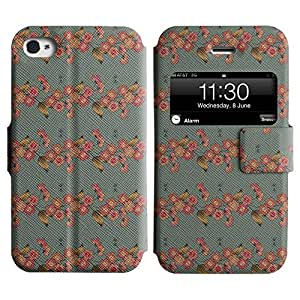 Be-Star Diseño Impreso Colorido Slim Casa Carcasa Funda Case PU Cuero - Stand Function para Apple iPhone 4 / 4S ( Flower With Leaves )