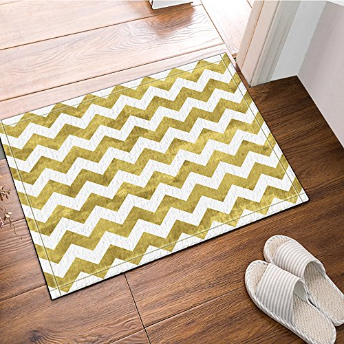 NYMB Gold and White Chevron Pattern Bath Rugs Non-Slip Floor
