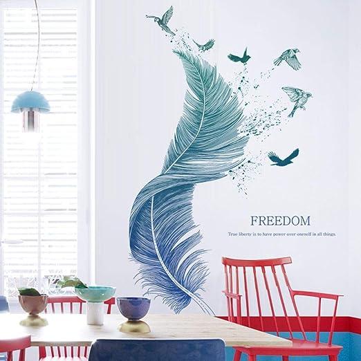 Pdrui Grüne und Blau Farbverlauf Feder Wandtattoo Wandsticker Wandaufkleber  Wanddekoration für Wohnzimmer Schlafzimmer Kinderzimmer 124cm×72cm