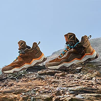 Rax Mens High Rise Hiking Boots Leather Waterproof Multifunctional Trekking Mountain Shoes