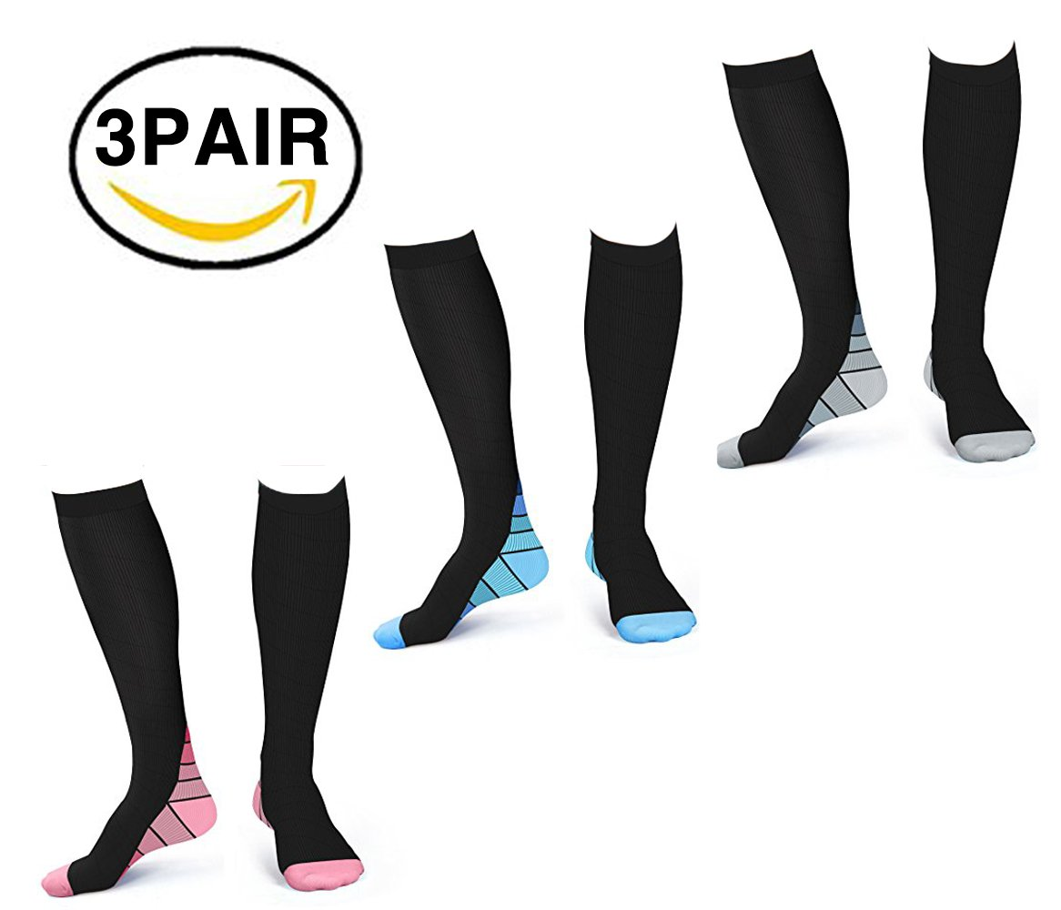 X-CHENG Compression Socks Unisex 15-20mmHg 3 Pairs- Support for your ankle,foot and calves & Reducing Swelling - for Sports, Flight, Travel, Pregnancy, Nursing Support Socks(L/XL)