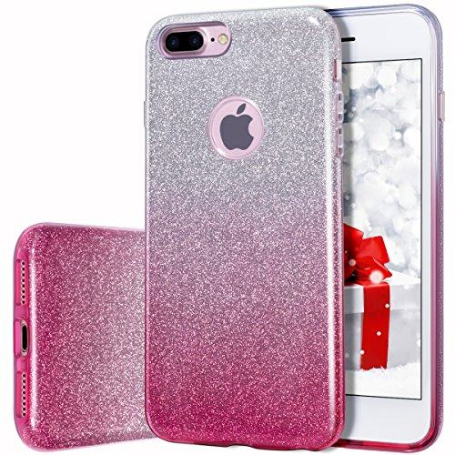 Price comparison product image Milprox te01 Bling Luxury Glitter Pretty Cute Premium 3 Layer Hybrid Anti-Slick / Protective / Soft Slim Thin TPU unique Case for Girls / Women for iPhone 7 Plus - Pink Silver