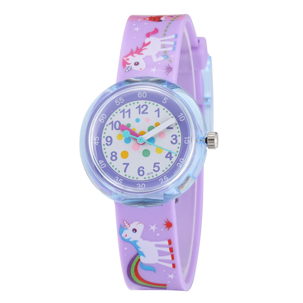Jewtme Cute Toddler Children Kids Watches Ages 5-8 Analog Time Teacher 3D Silicone Band Cartoon Watch for Little Girls Boys-Horse Purple by Jewtme