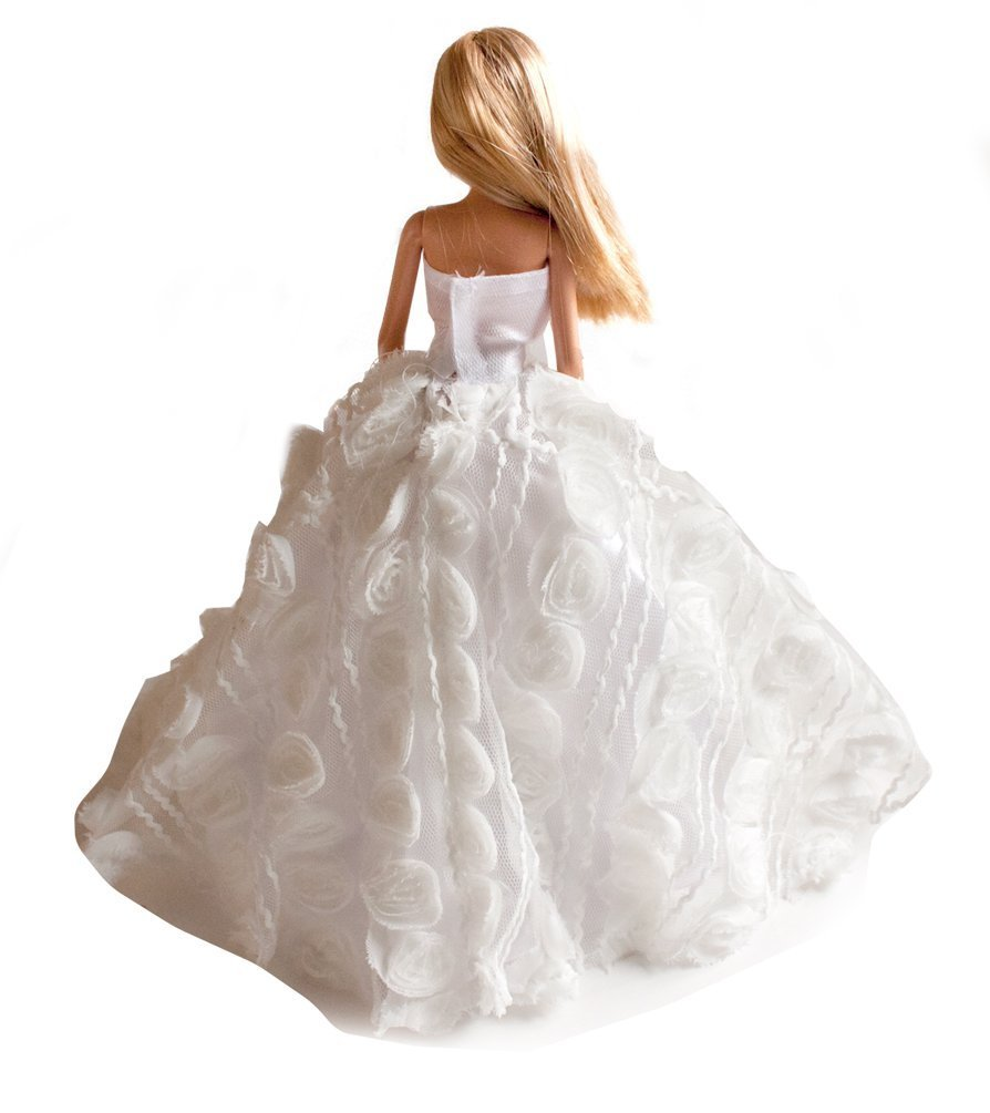 Multitextured Lace Strapless Gown Wedding Dress with Lace for 11.5 inches doll