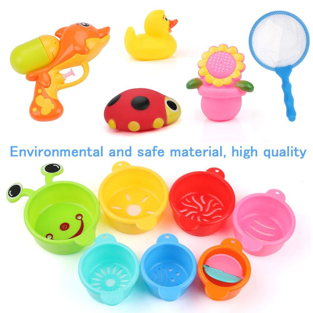 Swimming Pool Stacking Cups 19 Pcs Bath Toys Set Babies 6-12 months for Bathtub Bath Toys BBLIKE Bath Toy Storage with Water Gun Fishing Net