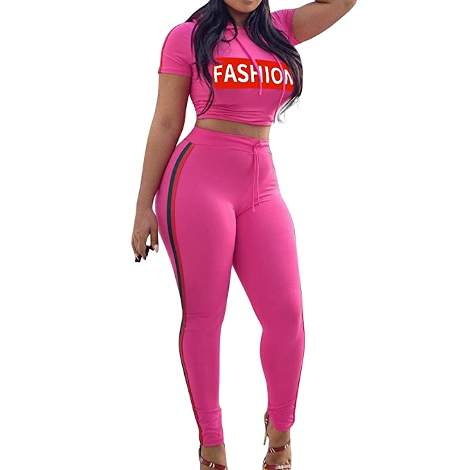 Mujer Chandal Conjunto, Moda Casual Conjuntos Deportivos Carta Impresa Manga Corta Crop Sweatshirt Sudadera con Capucha a Rayas + Pantalones 2pcs: ...