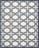 Safavieh Amherst Collection AMT413M Ivory and Navy Indoor/Outdoor Area Rug (8′ x 10′)