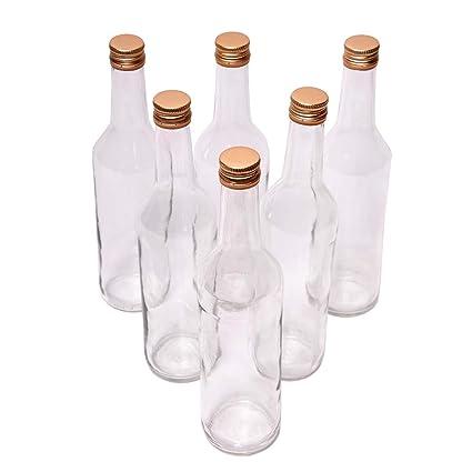SHD Juego de 6 Botellas de Cristal con Cierre de Rosca/Tapa de Rosca ...