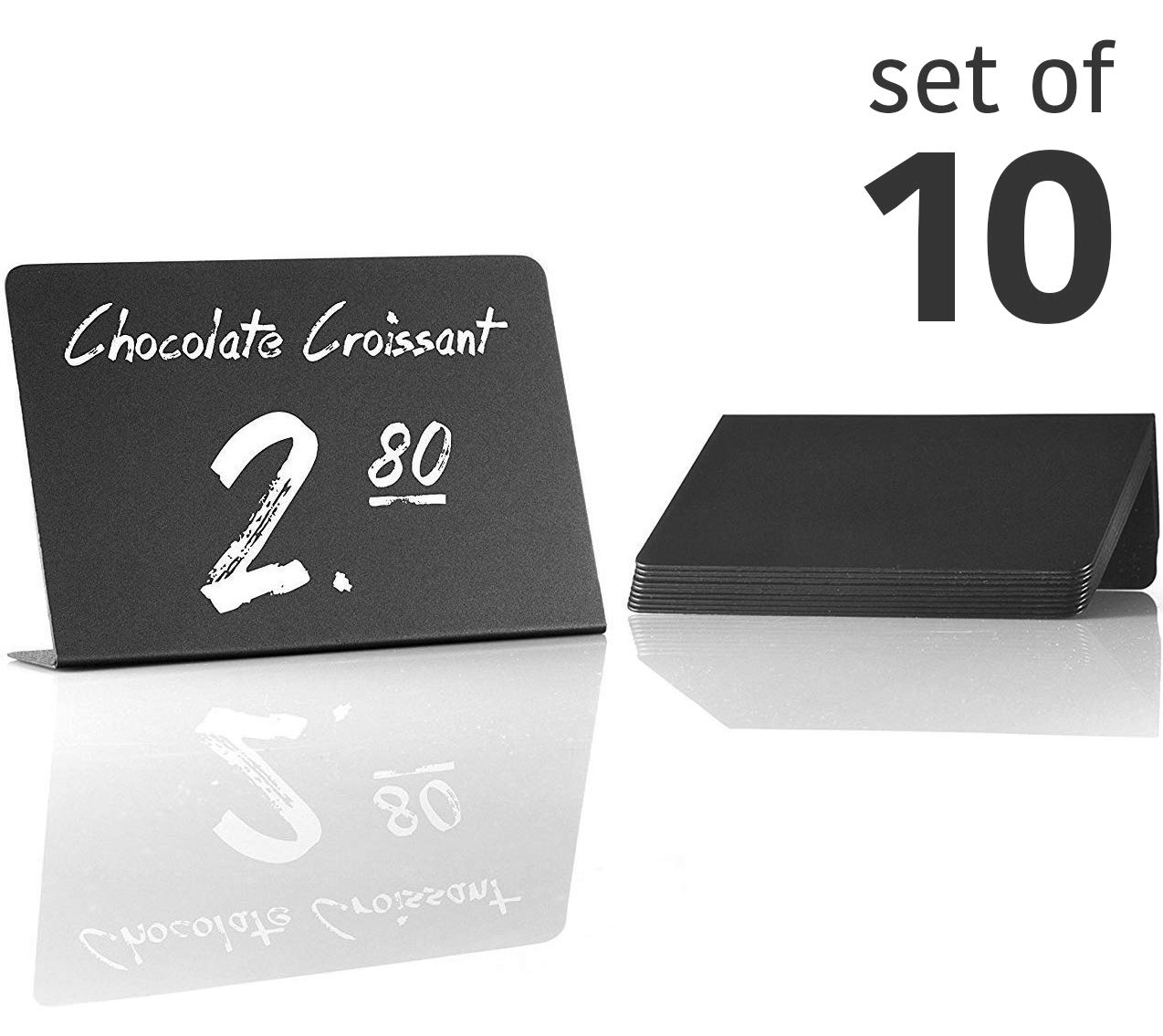 10 Pack Rustic Mini Chalkboard Signs - Easy To Write And Wipe Out - For Liquid Chalk Markers And Chalk - Small Plastic Message Board Signs - Table Numbers - Food Labels For Party - Small Chalkboard