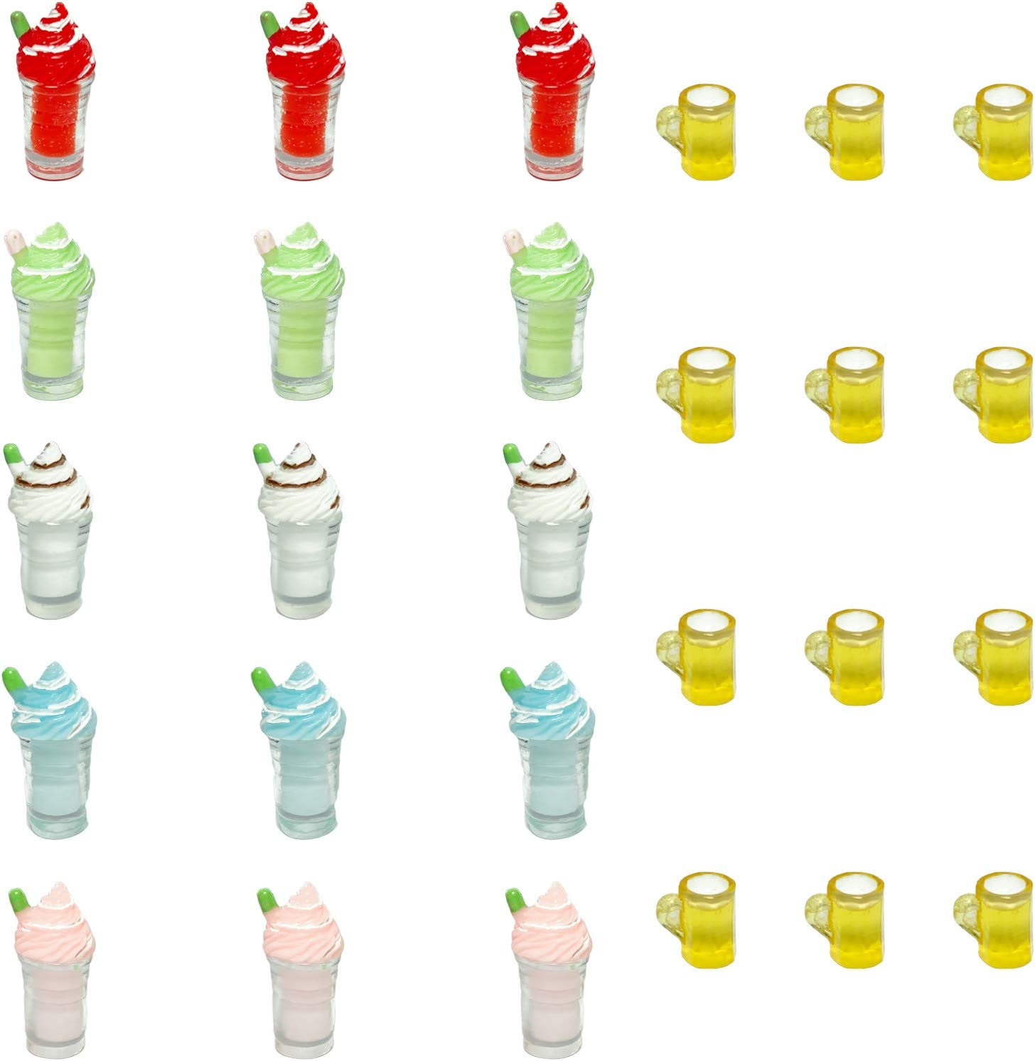 Mulutoo 27pcs Miniature Ice Cream Cup Beer Cup Miniature Food Drink Bottles Dollhouse Bonsai Fairy Garden Micro Landscape Home Garden Decoration Accessories