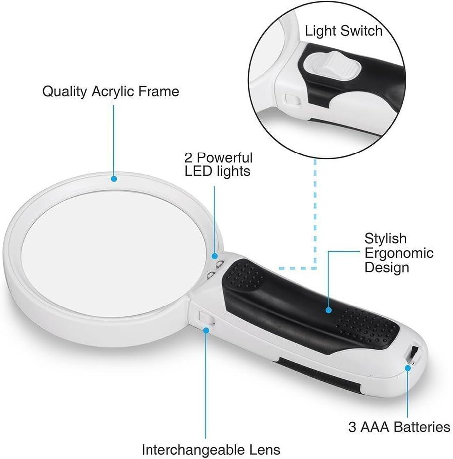MMOBIEL Supporto per lente dingrandimento a mani libere per uso professionale 2.5X 4X LED con lente dingrandimento e clip