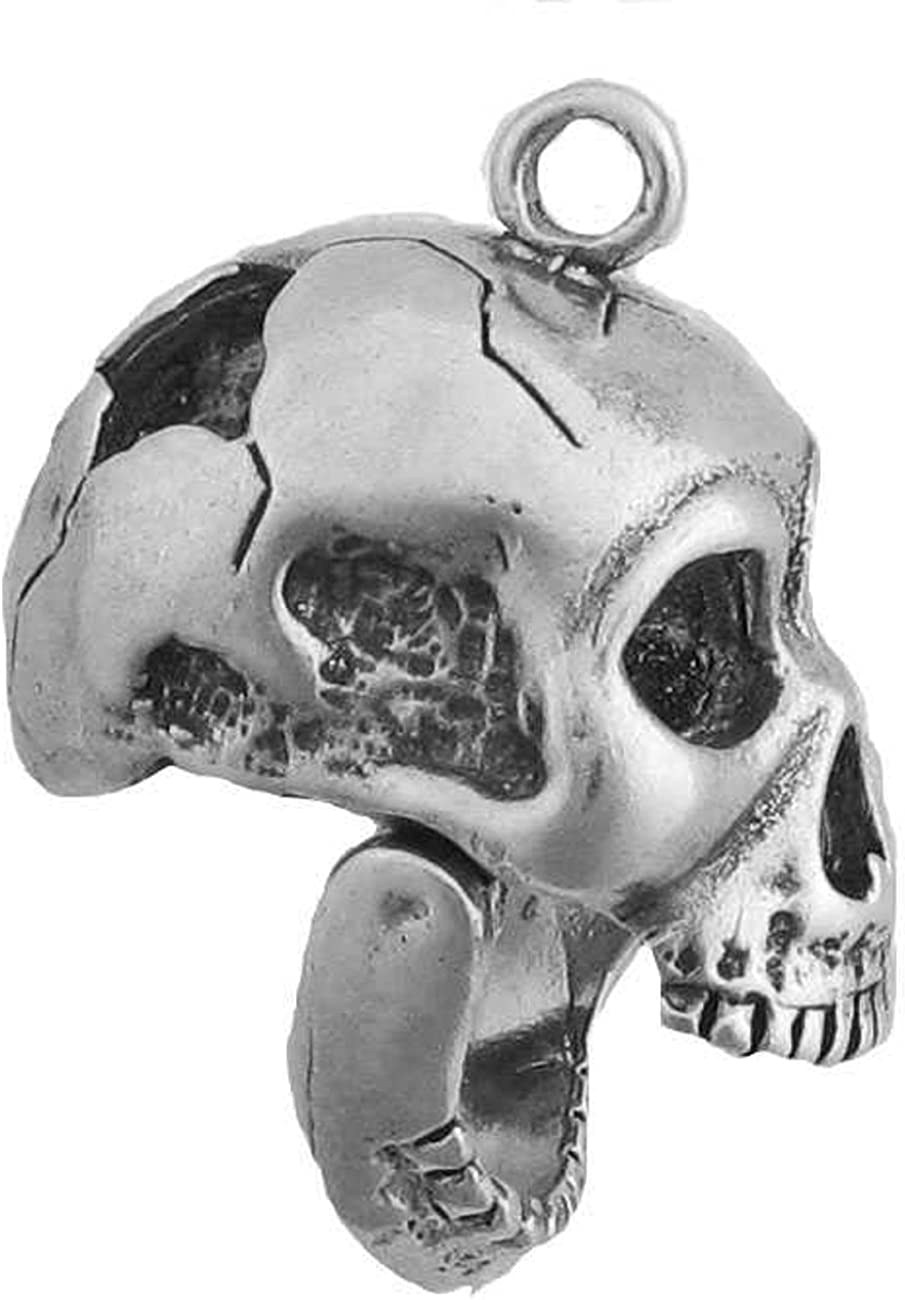 Sterling Silver Mens Unisex 1.5mm Pistol Or Rifle Wounded 3D Human Skull Pendant Necklace