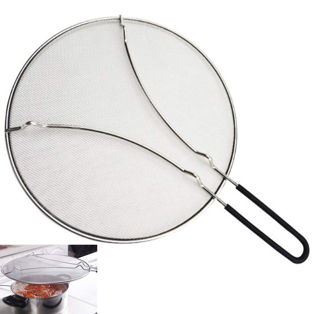 YAOBAO Splatter Screen,Stops of Hot Oil Splash Splatter Guard for Cooking,Stainless Steel Protects Skin from Burns,33 cm by YAOBAO
