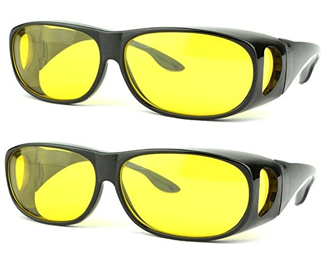 47a6bb241b2 SOOLALA 2 Pairs Value Pack HD Night Vision Wraparounds Wrap Around  Windproof Sunglasses