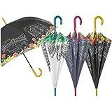 PERLETTI Paraguas Resistente al Viento para señora, con impresión de Ciudades Italianas y Medidas de