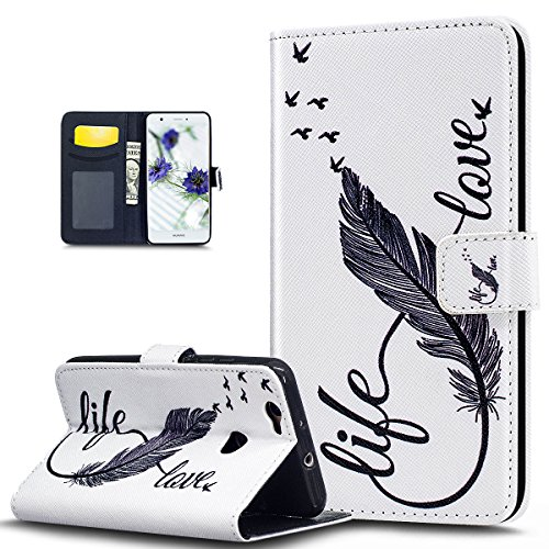 Huawei Nova Case,Huawei Nova Cover,ikasus Colorful Art Painted Pattern Premium PU Leather Fold Wallet Pouch Case Wallet Flip Stand Protective Case Cover for Huawei Nova,Love Life Feather (Mirror Nova Art)