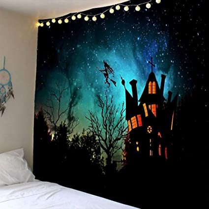 Scary Halloween Night Background With Haunted House Castle Dead Trees Graveyard Witch Flying To Galaxy Sky