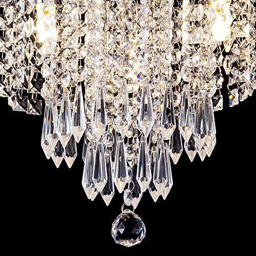 ZEEFO Crystal Chandeliers, Modern Pendant Flush Mount Ceiling Light Fixtures, 3 Lights, H10.2 W9.8 Inches, Contemporary Elegant Design Style Suitable For Hallway, Living Room, Dining Room by ZEEFO (Image #2)