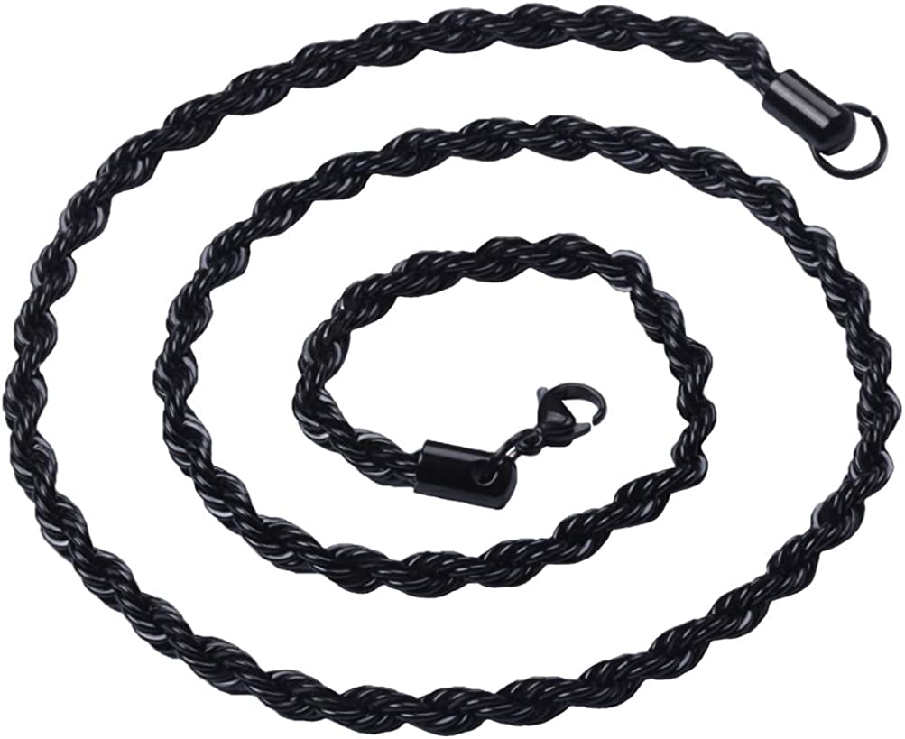Sandra Mens Jewelry 2MM to 6MM 18-40 Black Stainless Steel Rope Necklace Chain 40 inches 3mm