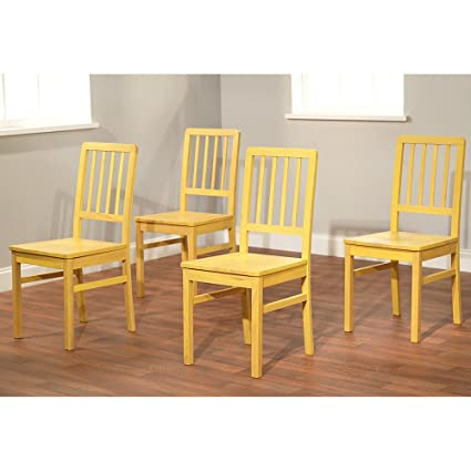 Beau Target Marketing Systems Camden Collection Modern Slatted Back Dining  Chairs, Set Of 4, Yellow