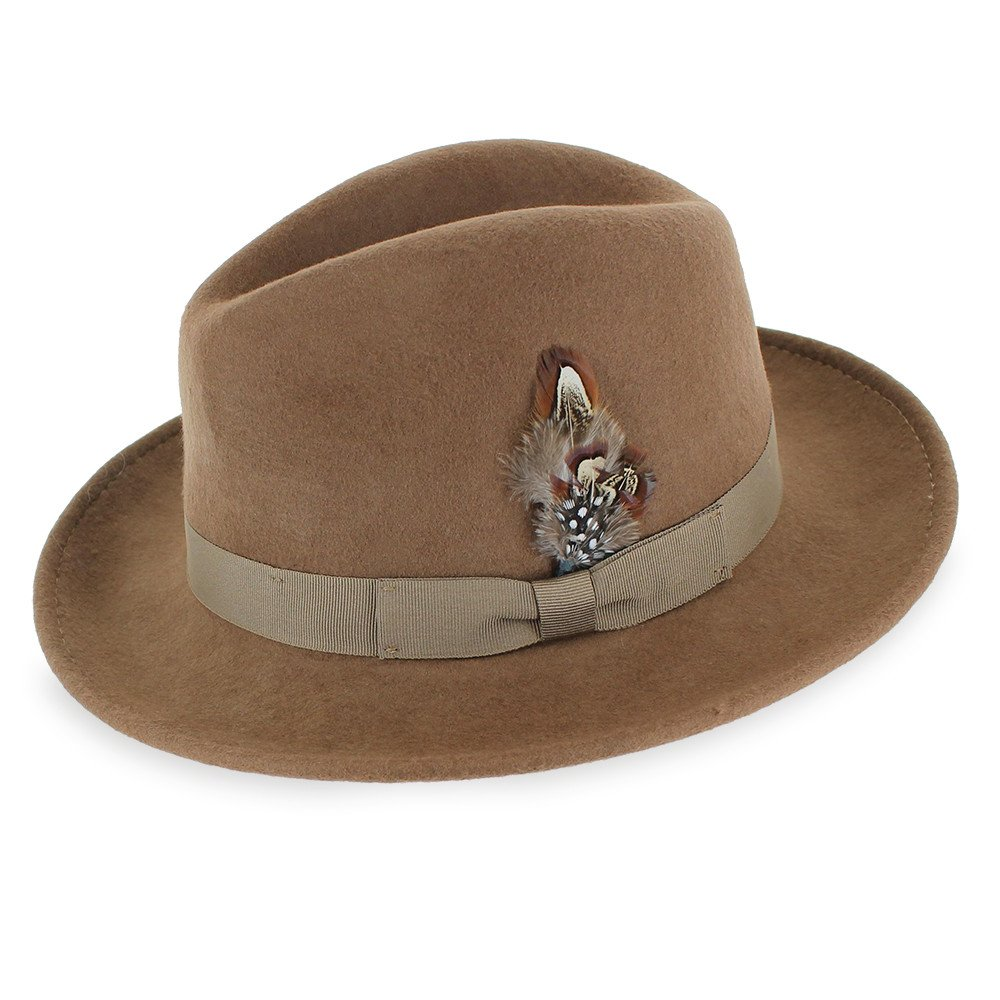Men's Vintage Style Hats Belfry Crushable Dress Fedora Mens Vintage Style Hat 100% Pure Wool in Black Blue Grey Pecan Brown $39.95 AT vintagedancer.com