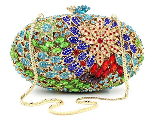 Clutches bag Diamond Evening Oval Handbags Purses Green High grade Shiny New Holding Luxury qCxHwzxa1