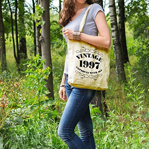 with Bag Bags Printed age Vintage Lemon 1997 improves Shopper Tote Cotton Gifts Women For qXxwZAA6R