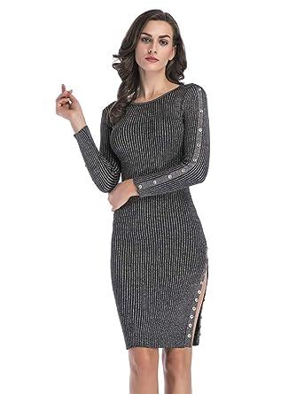 5cba192052 Sepomisdo Women s Knit Stretchable Elasticity Button Embellished Long  Sleeve Slim Fit Sweater Dress Black Grey