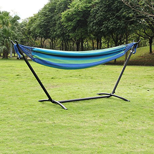 Ollieroo® Double Hammock with Space-saving Steel Stand and Carrying Case, 450lb Capacity Green/blue Stripes