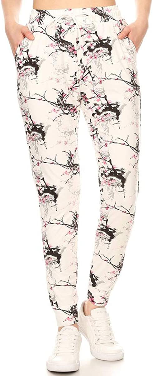 Leggings Depot JGA-S701-S Floralsque Printed Jogger Pants w//Pockets Small