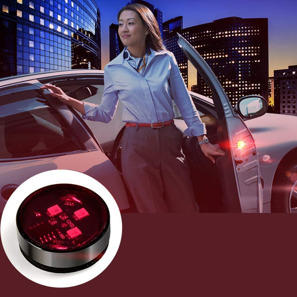 Konesky Car Door Warning Light Rosso 4 Pack LED Safty Lights IP65 Impermeabile LED Sicurezza Anticorrispondenza Lampadine Auto Avvisa Lampada Auto off con 3 modalit/à Lampeggianti