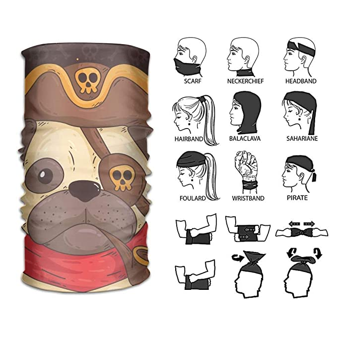 7e04426565a Yilier Headband Pug Captain Outdoor Multifunctional Headwear 16 Ways to  Wear Your Magic Headwear Scarf  Amazon.ca  Clothing   Accessories