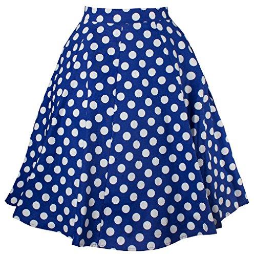 Jupe des Femme imprim uni swing Eudolah 50 fleurs style vintage midi annes Pois Bleu SXqdf
