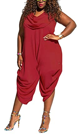 15cb62b225d9 Amazon.com  Womens Shawl Collared Baggy Pants Loose Harem Capri Playsuits Jumpsuits  Plus Size  Clothing