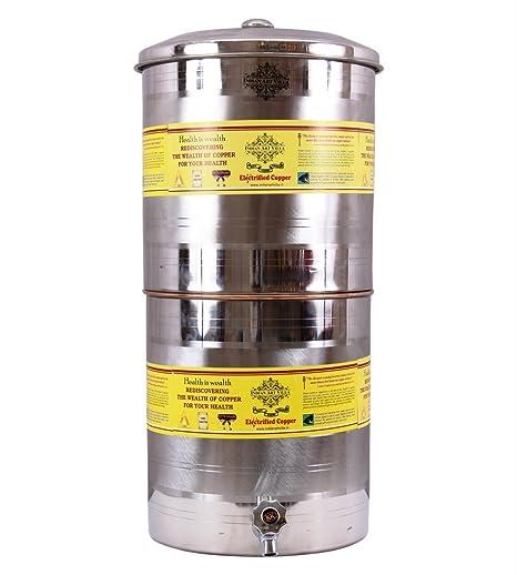 IndianArtVilla acero cobre depósito de agua recipiente maceta con ...