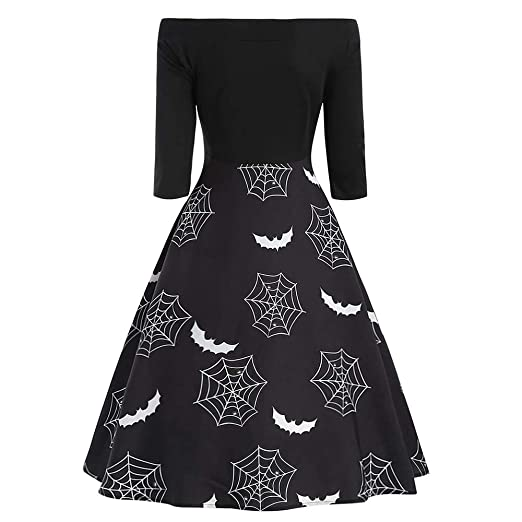 Women Halloween Slash Neck Off Shoulder Spider Web Print Gown Flare Evening