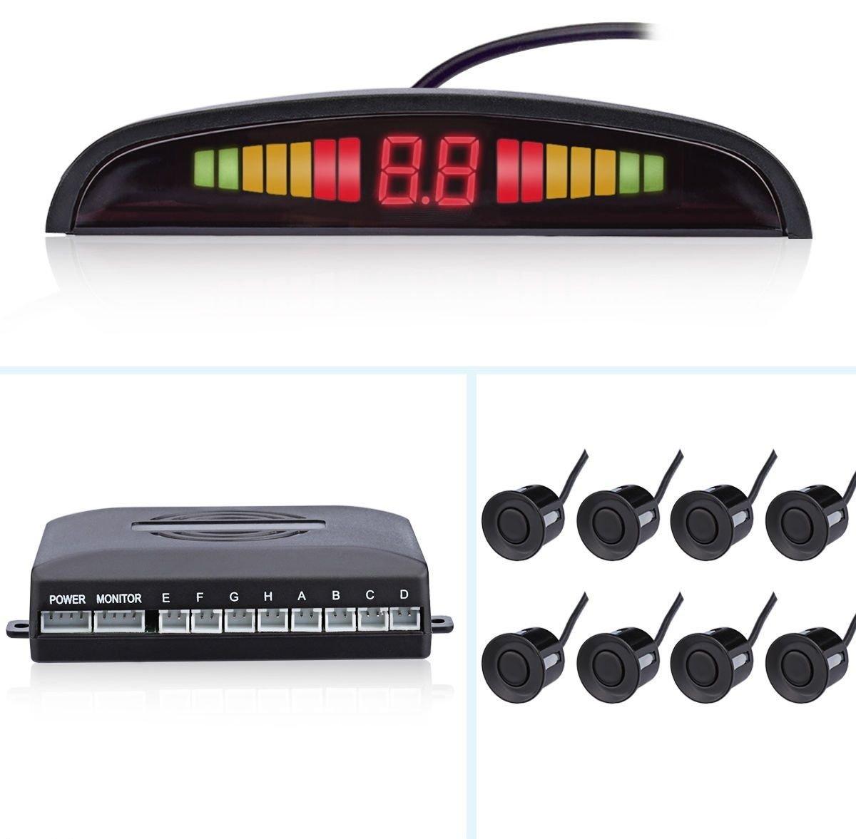 Car Parking Reverse Reversing Backup Radar System with 8 Parking Sensor Front 4 Rear 4 Kit LED Display - Black AUTOMATE®