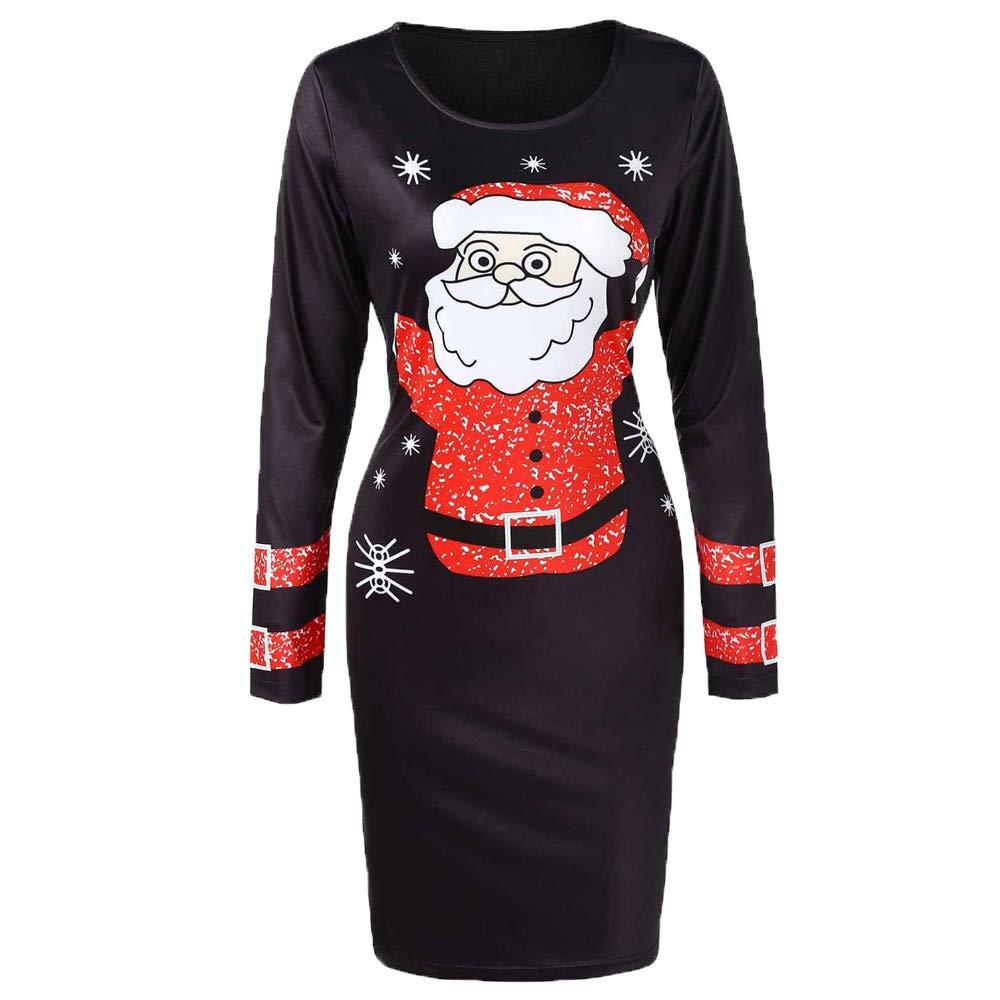 FarJing Christmas Dress Fashion Women O-Neck Long Sleeve Santa Claus Printed Bodycon Dress