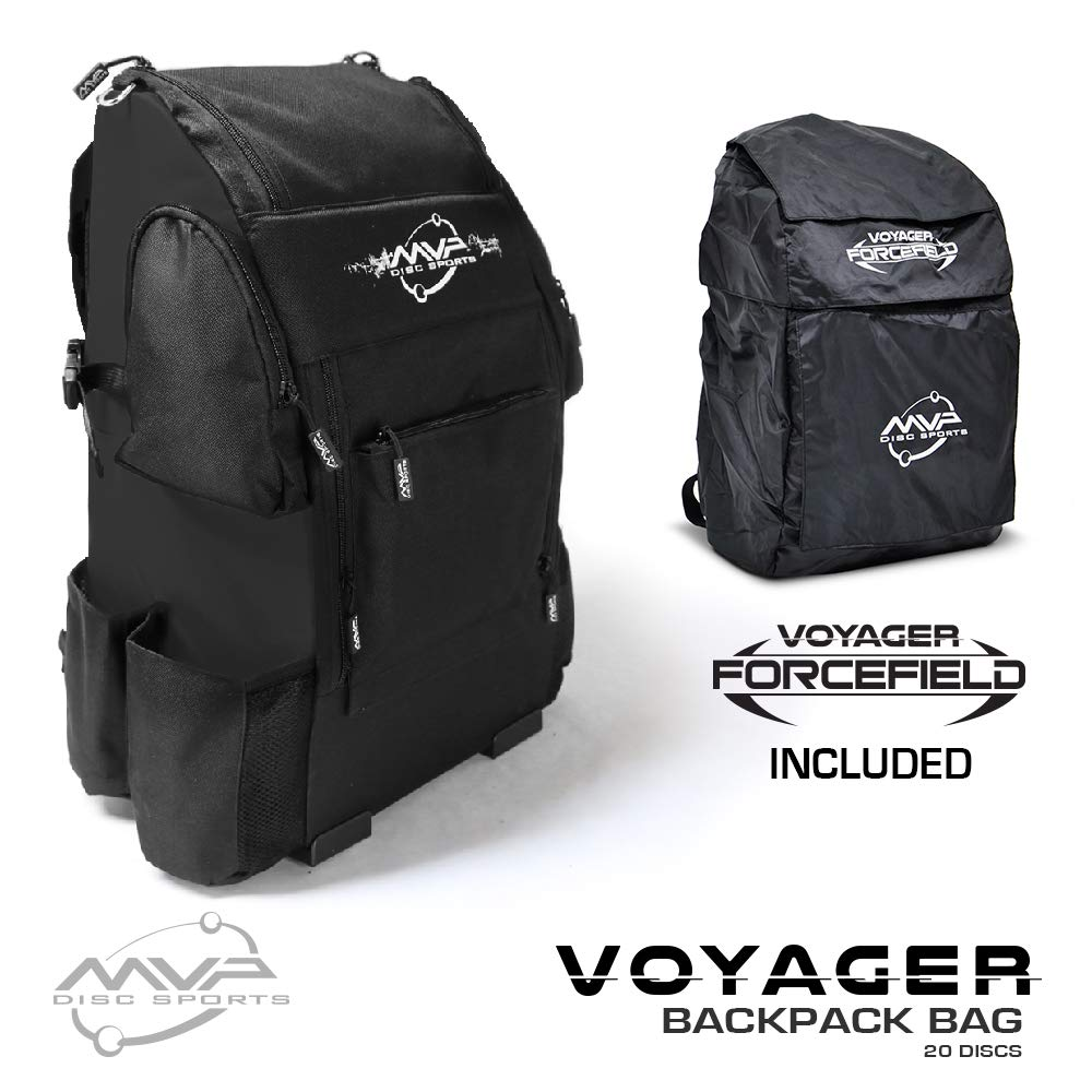 MVP Disc Sports Voyager Backpack Disc Golf Bag with Forcefield Rainfly - Black