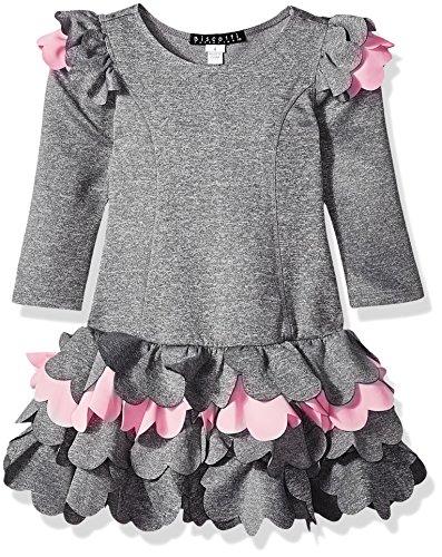 - Biscotti Girls' Paris Petals Scuba Dress With Scalloped Skirt