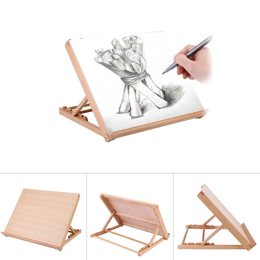 Wood Drawing Board, Adjustable Wood Artist Drawing Sketching Board Multifunctional A2 Drawing Board for Kids Student Artist Painting Sketching Easel, 19.2 x 16.5 x 2.5Inch Yosoo