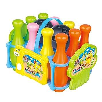 Juego De Bolos Infantil Con 10 Pinos Coloridos Y 2 Bolas Pelota De