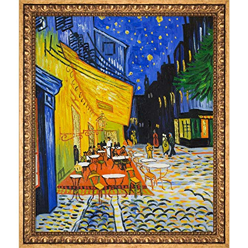 La Pastiche Cafe Terrace at Night (Luxury Line) by Vincent Van Gogh Framed Hand Painted Oil on Canvas, 27.5