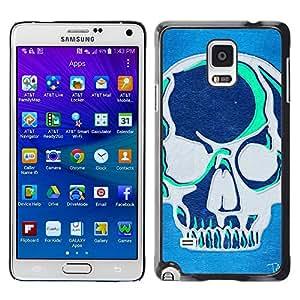 Be Good Phone Accessory // Dura Cáscara cubierta Protectora Caso Carcasa Funda de Protección para Samsung Galaxy Note 4 SM-N910 // Teal Blue Artistic Skull Grey Art Graffiti