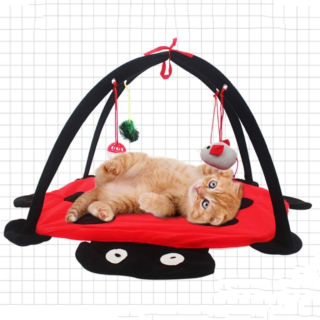 Red Kennel Pads Dog Beds Dogs Furniture Collapsible Cat Crib Toy Tent Pet Toy Beetle Cat Litter 45  45  33cm Cat Bed Pet Supplies Cover (color   Red)