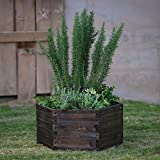 Outdoor Garden Planter Made of Wood with Hexagon Design in Dark Brown Finish