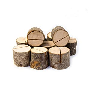 Senover Rustic Wood Table Numbers Holder Wood Place Card Holder Party Wedding Table Name Card Holder Memo Note Card (10pcs)