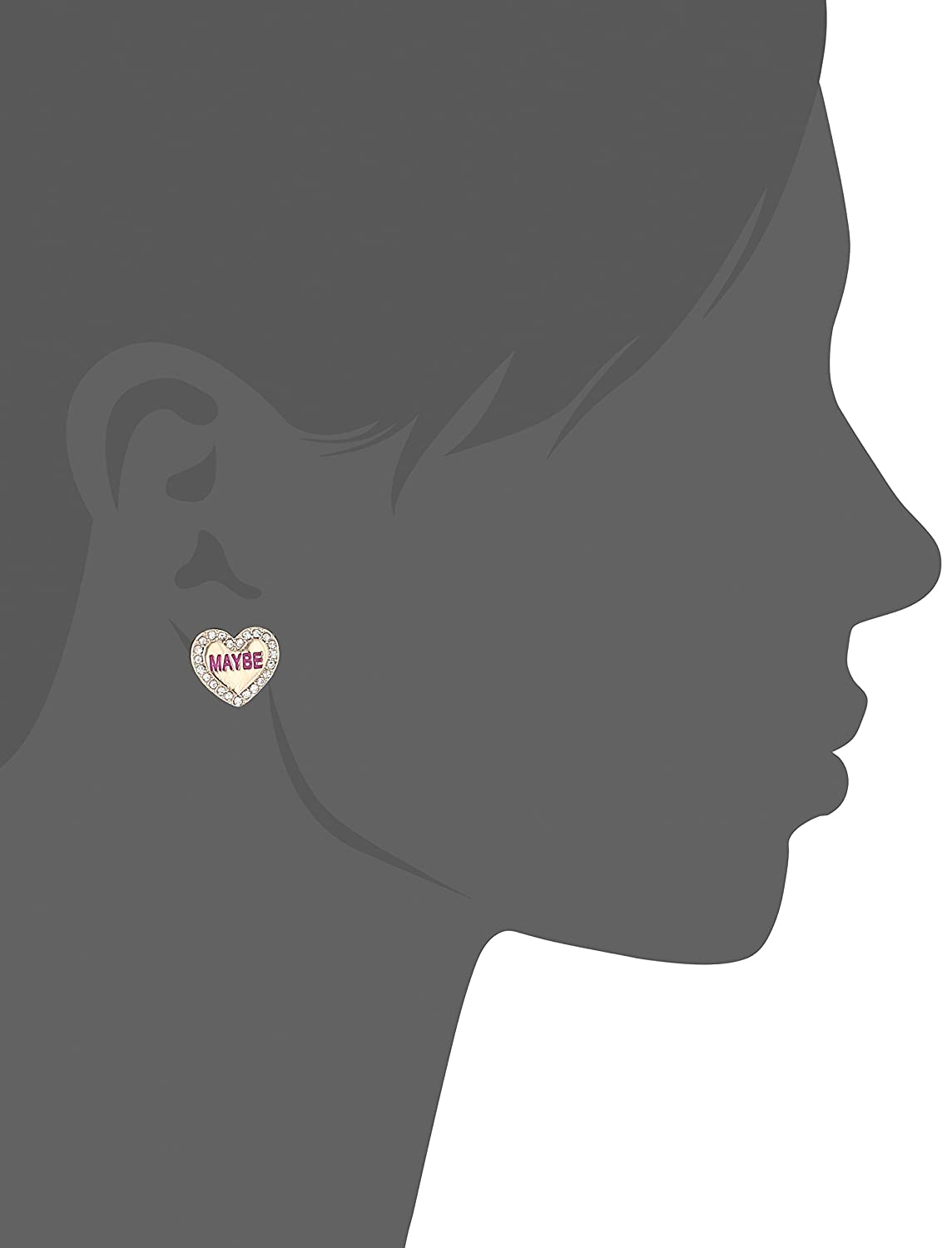 Betsey Johnson Womens Conversation Heart Stud Earrings Set